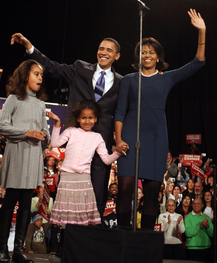 DES MOINES, IA - JANUARY 03: Democratic Presidential hopeful Senator Barack Obama (D-IL) his wife Michelle, and daughters Malia (L) and Sasha greet supporters gathered for a post-caucus celebration at the Hy-Vee Center January 3, 2008 in Des Moines, Iowa. According to reports Obama has won the Democratic caucus race in Iowa and will now move his campaign for the American presidency to New Hampshire which holds its primary next week. (Photo by Scott Olson/Getty Images) via @AOL_Lifestyle…