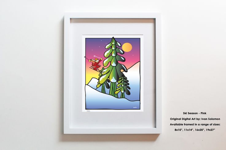 Do you know someone who loves to ski? Do you love skiing? Our original Ski Season artwork with a pink background is available framed in a wide range of sizes. Also available with a white background. Made in Vancouver, BC and inspired by the local mountains and a love of skiing :)