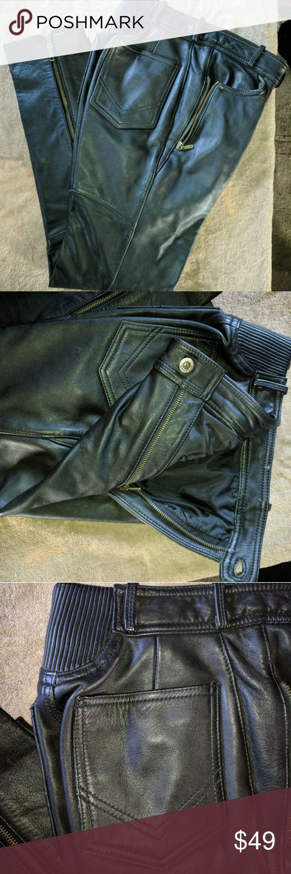 Easyriders black leather riding pants Genuine leather, side zip front pockets, zip ankle, gathered rear waist band, Chevron pocket design, fully lined. Pants Ankle & Cropped