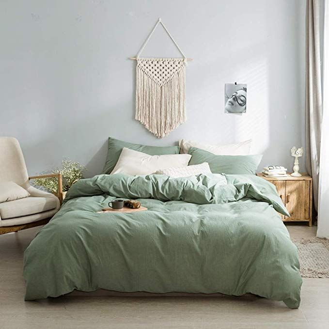 Amazon Com Green Chambray Duvet Cover 100 Washed Cotton Solid Color Casual Modern Style Green Bedding Set Sage Green Bedroom Green Bedding Green Bedding Set