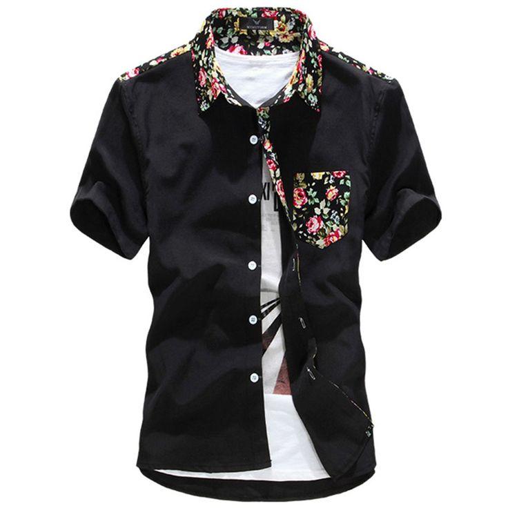 Details About Men Short Sleeve Button Up Shirt Floral
