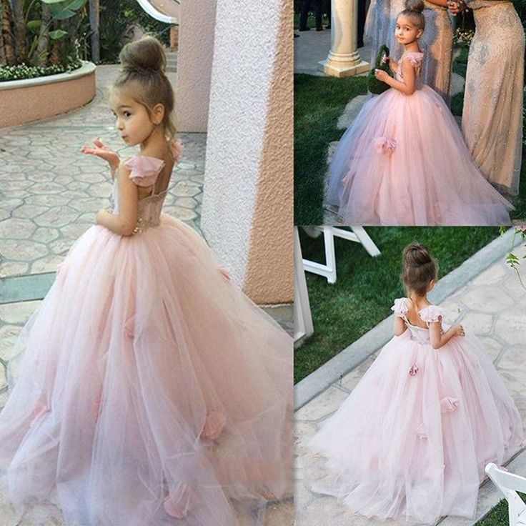 New Pink Tulle Flower Girl Dresses Lace Applique Communion Dress Open Back Floor Length Gowns For Kids Discount Flower Girl Dress Dog Flower Girl Dress From Newdeve, $66.91| Dhgate.Com