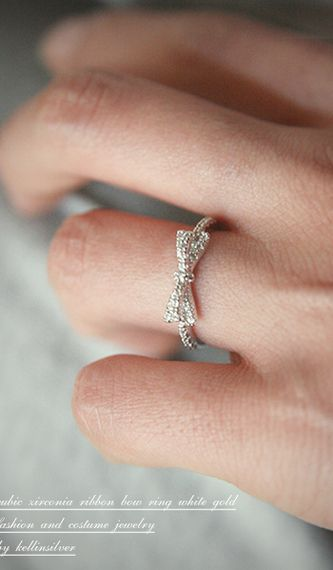 CZ Ribbon Bow Ring White Gold from kellinsilver.com