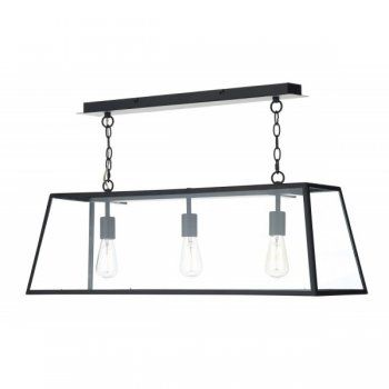 Dar Lighting Academy 3 Light Industrial Style Pendant Light in Black ACA0322 | Arrow Electrical