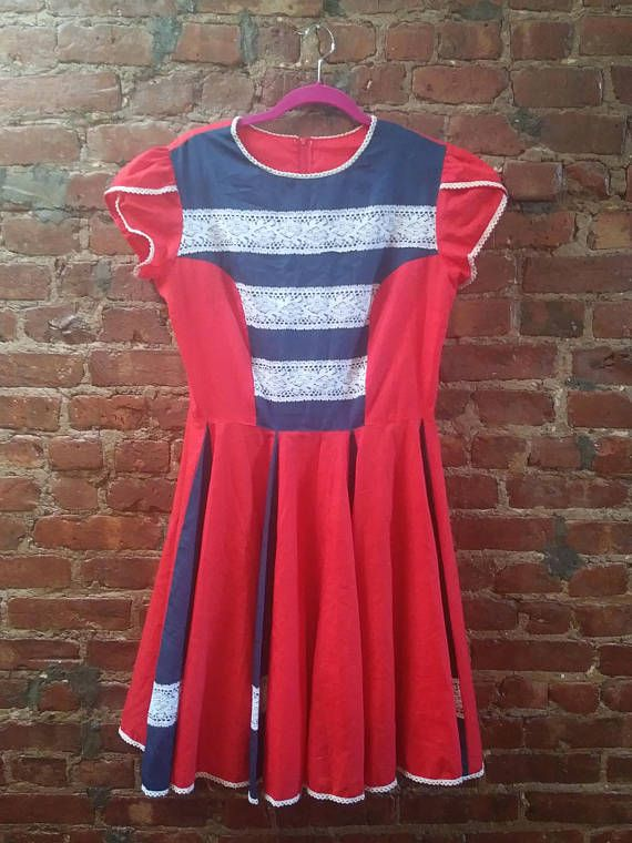 faec3b7c198e Vintage 1950s Red and Blue White Lace Swing Shirt Dress