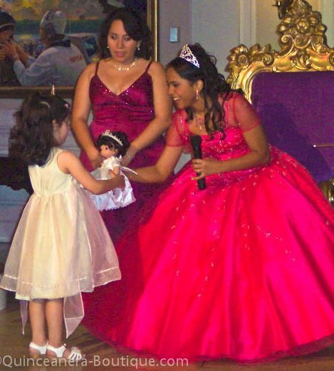 The Last Doll Tradition The quinceanera gives her last doll to a younger sister. She is ready for the adventures (and challenges) of a young adult!
