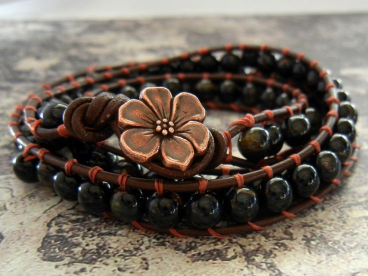 How to make wrapped leather bracelets #DIY #jewelry #tutorial