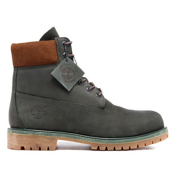 Timberland Men's 6 Inch Premium Boots - Dark Urban Chic Waterbuck NB ($210) ❤ liked on Polyvore featuring men's fashion, men's shoes, men's boots, men's work boots, men, grey, mens gray boots, mens ties, mens urban boots and mens grey boots