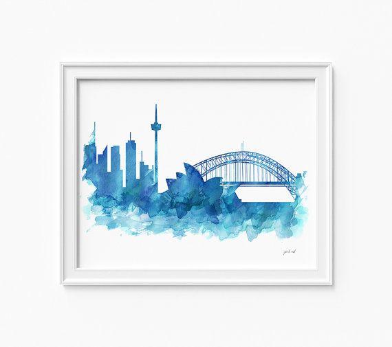 Sydney watercolor skyline printable file JPEG by iPrintArt on Etsy