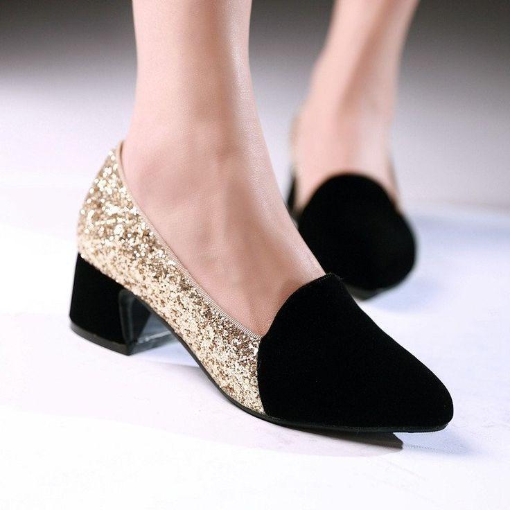 Women Pumps High Heels Sequin Shoes 3151