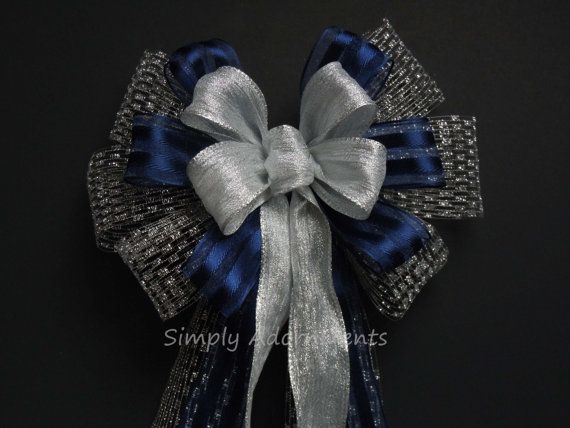 Navy Silver Wedding Bow Silver Navy Blue Ceremony Aisle Decoration Bridal Shower Party Decor Bow Gift Wrapping Bow