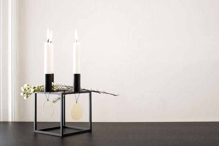Kubus 4 candleholder in black.