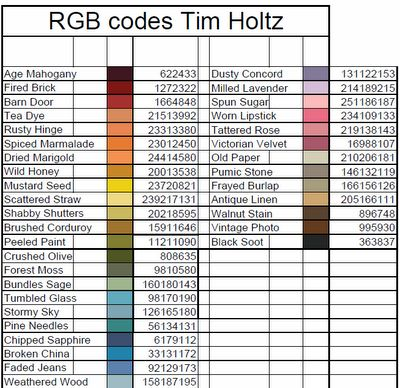 Scrappin' Nanapuddin: Anyone interested in Tim Holtz RGB Codes?!!