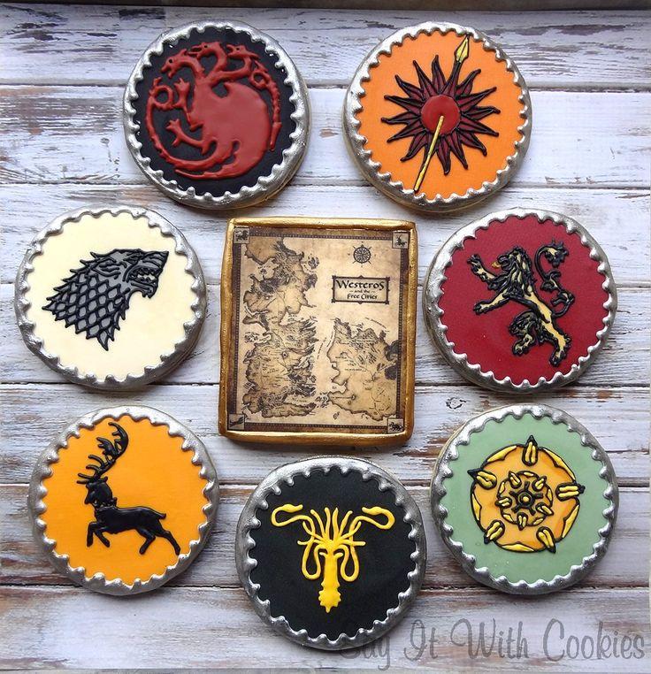 Game of thrones cookies hand decorated sugar cookies for Decoracion juego de tronos