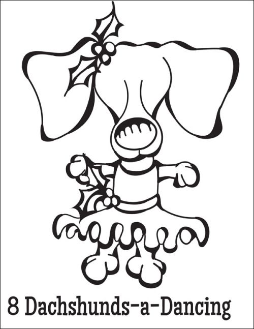 free coloring page download 8 dachshunds a dancing from the twelve dogs of - Coloring Pages Christmas Stuff