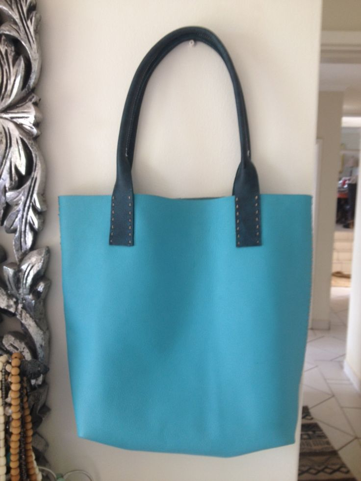 Hand Sewn Turquoise leather Tote bag,