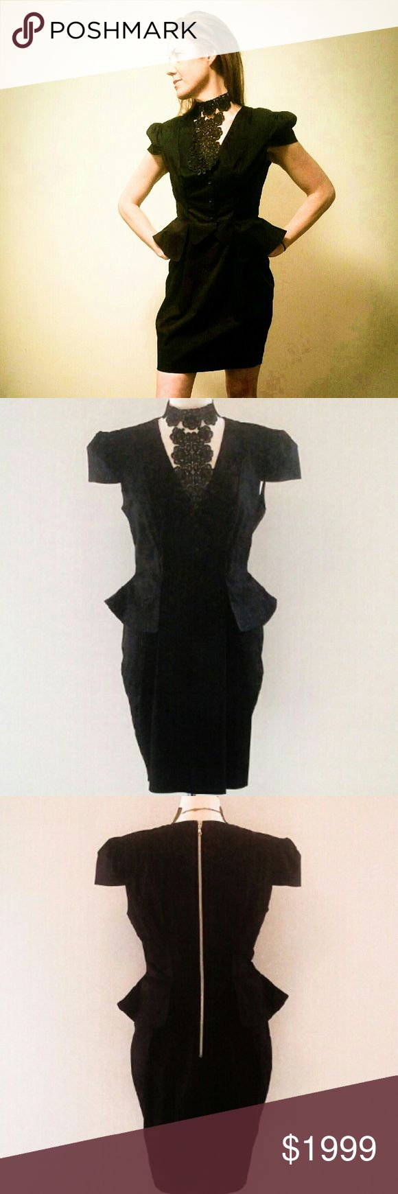 Alexander McQueen Black Dress Size 6 to 8 Euro 46 This is the gorgeous authentic Alexander McQueen  little black dress with cap sleeves and peplum waist in size 6 to 8 European size 46! This is an original authentic designer Alexander McQueen dress with zipper down the back and cosmetic ornamental buttons in the front. It's figure flattering giving you beautiful shapely curves and creates an hourglass silhouette. This dress is in excellent condition and is absolutely magnificent! Stunning…