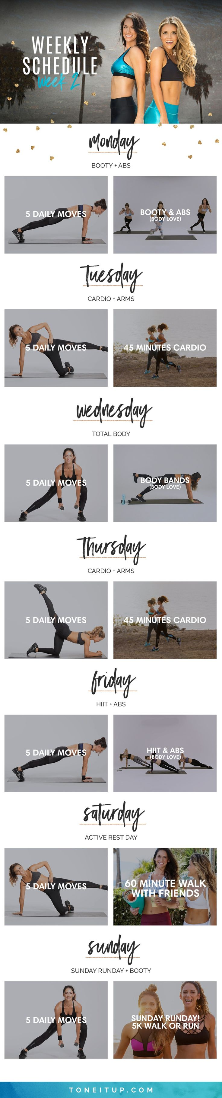 Tone It Up Challenge Week 2 Weekly Schedule