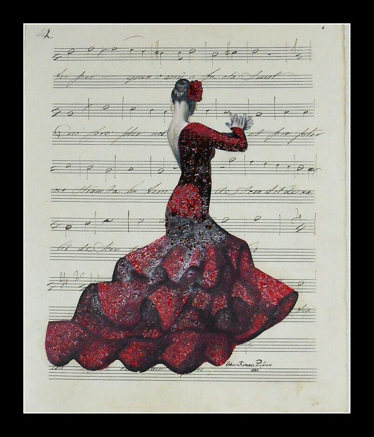 Ballerina flamenco su spartito fine ottocento