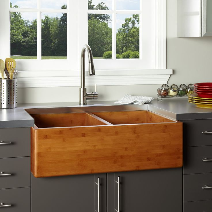 "36"" Double Bowl Bamboo Farmhouse Sink"