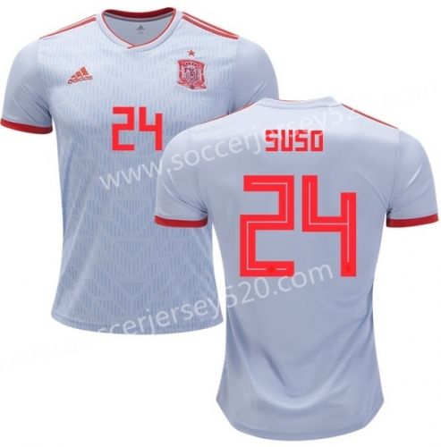 dd17dca2c 2018 World Cup Spain Away Gray  24(SUSO)Thailand Soccer Jersey AAA ...
