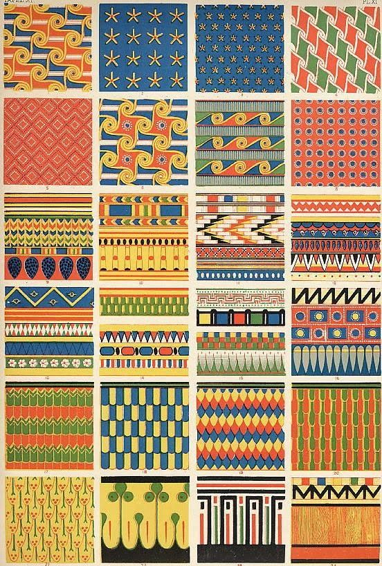 ArtbyJean - Vintage Clip Art: Digital Collage Sheet of Egyptian Patterns