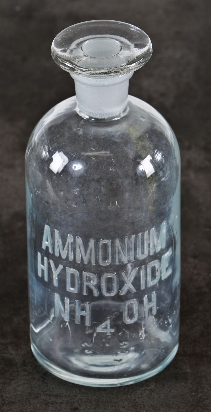 single c. 1920's original american vintage apothecary embossed letter chemistry lab ammonium hydroxide clear glass reagent bottle with intact topper