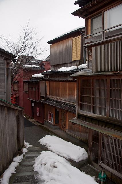 Geisha houses in the kazue-machi geisha district, kanazawa, Japan