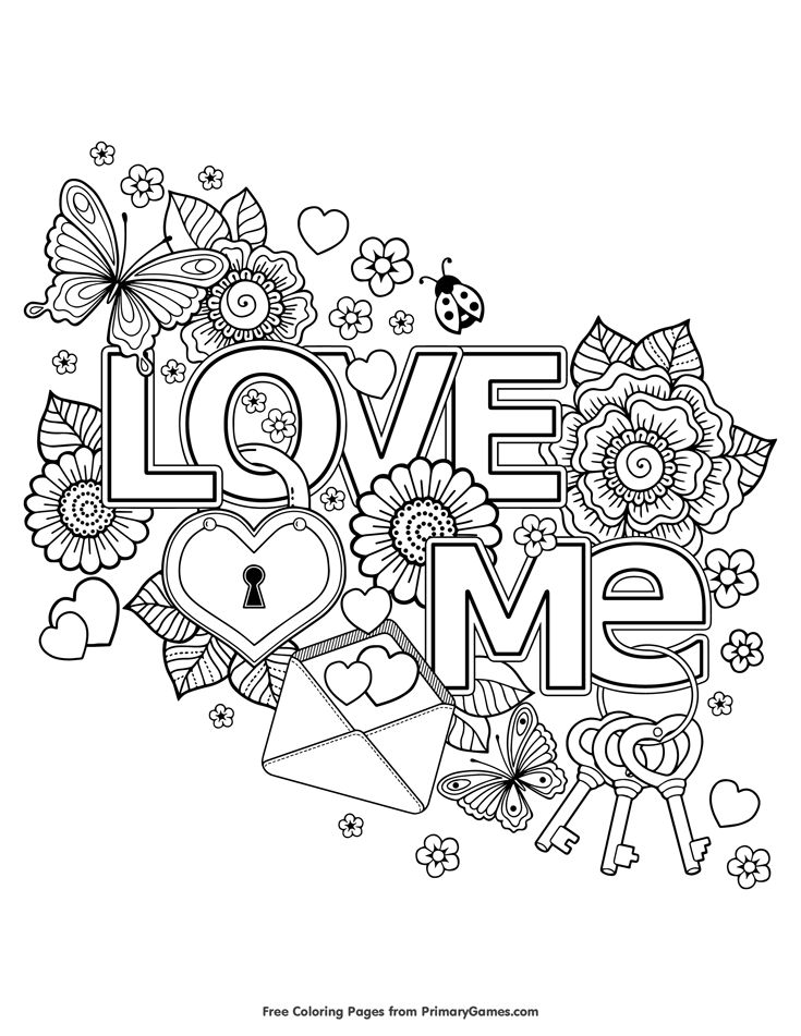 "Free printable ""Love Me"" - heart, flowers, keys, lock - Valentine's Day coloring pages for use in your classroom and home from PrimaryGames."