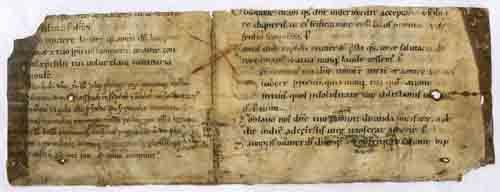 Ermordung des Staufers Philipp von Schwaben: Philipp wurde 1208 in der bischöflichen Pfalz zu Bamberg durch den Wittelsbacher Pfalzgrafen Otto VIII. getötet. Die Notiz ist auf einem Pergamentfragment überliefert. (HStAS J 522 B VI Nr. 730)
