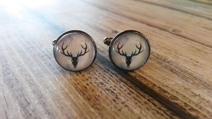 Stag skull silhouette on watercolour, cufflinks by NixieNooDesigns on Etsy