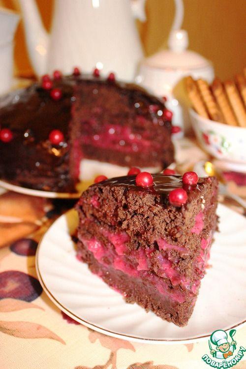 Шоколадно-брусничный торт (постный)
