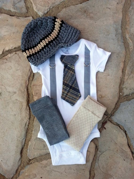 Baby Boy Plaid Tie and Suspender Bodysuit with Crocheted Hat and Leggings - Photo Prop, Preppy, Winter, Baby Birthday, GET THE SET on Etsy, $45.00