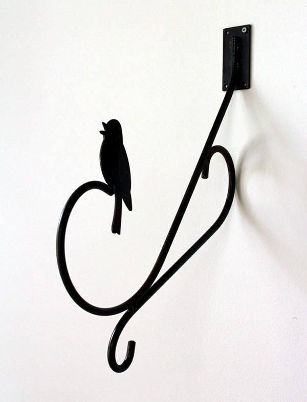"""MH003  Hummingbird Wall Hanger. 15"""" Length. Steel with rust finish. Made in Canada.  Made in Canada"""