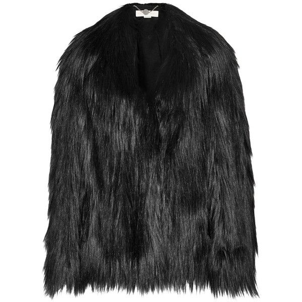 Stella McCartney Faux fur coat (11.525 DKK) ❤ liked on Polyvore featuring outerwear, coats, jackets, black, black coat, black flared coat, imitation fur coats, faux fur coats and flared coat