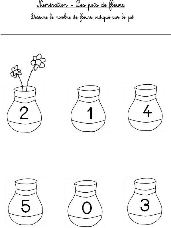 Numération : dessine le nombre de fleurs indiqué sur le pot