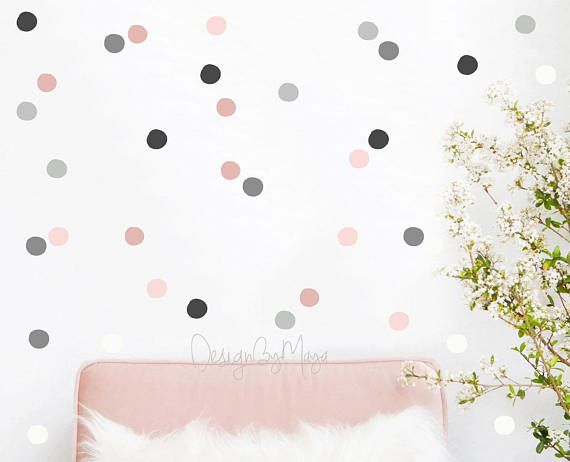 Nursery decor, Baby Girl Nursery Wall Decal, Gray, Pink, Polka dots, Nursery Wall Decal Kids Wall Decal Modern Nursery Wall Decal, Room art