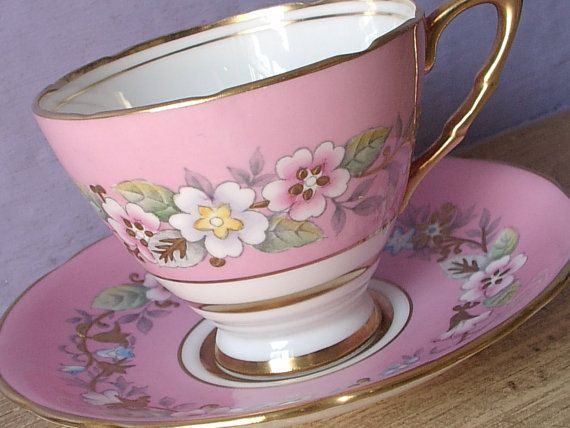 Antique Bone China Tea cup and Saucer, Royal Stafford hand painted- English - made in the 1950s