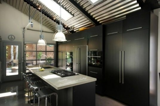 Love the corrugated metal ceiling in this gorge modern kitchen!