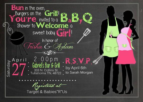 Chalkboard BBQ Baby Shower Printable Invitation by Sarahmkey, $10.95