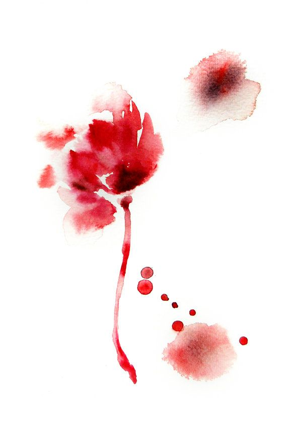 Abstract Flowers Watercolor Painting Art Print Modern