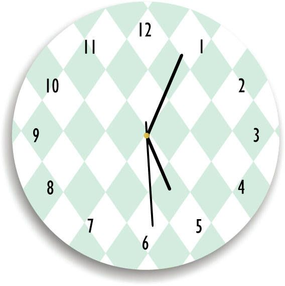 Harlequin Mint and white WALL CLOCK, Geometric Wall clock, Minimalist Kids Room, Geometric Wall Decor, Modern Decor, Scandinavian wall decor by KidODesignStudio on Etsy