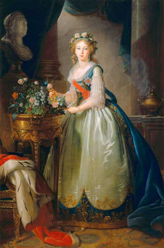 Grand Duchess Elisaveta Alexeevna, later Empress of Russia, consort of Alexander I 1795, copy (2nd iteration) listed as half lenght in her memoirs? location unknown