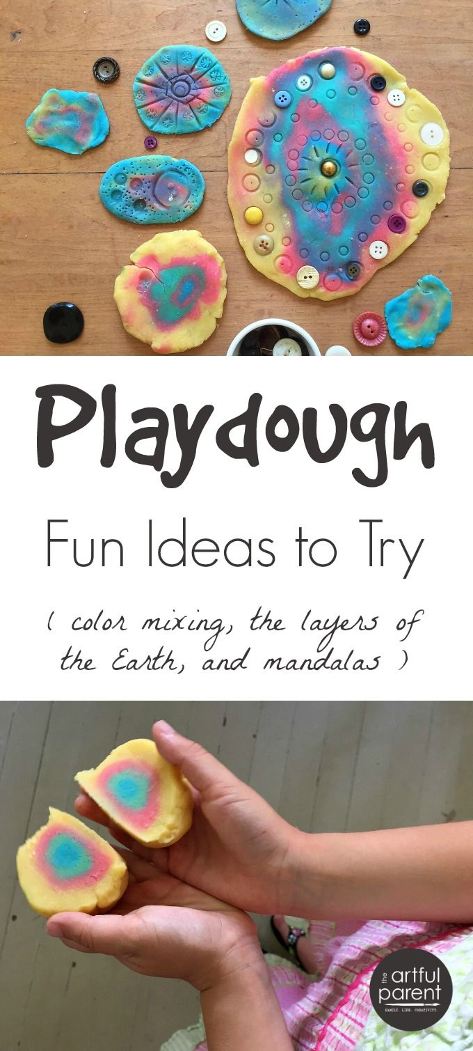 Lots of playdough fun for kids, including printing playdough mandalas, making the layers of the Earth with playdough, and color mixing with playdough.
