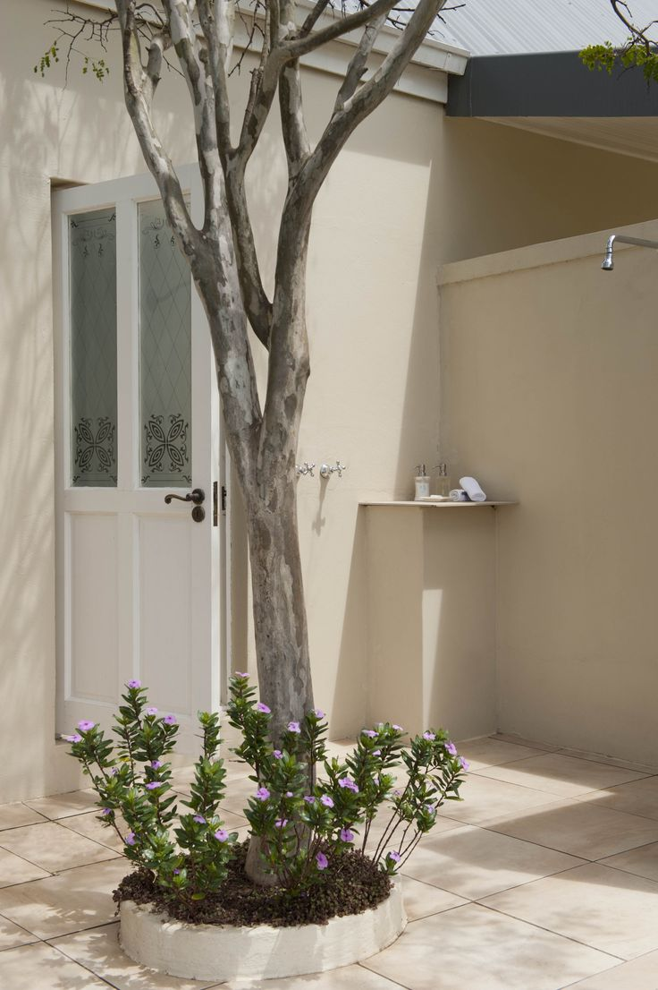 Outside Shower in one of the 8 luxury suites at River Bend Lodge. Addo Elephant National Park, South Africa.
