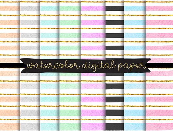 watercolor digital paper, Gold Glitter Confetti Papers, strips Digital Paper, Pastel Color digital paper, hand painted background, Scrapbook