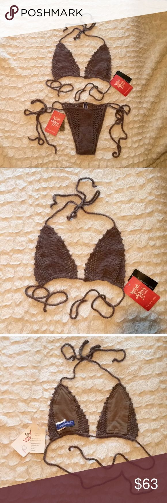 NWT Beauty & The Beach Crochet Bikini *SET* Beauty & The Beach Hawaii NWT string bikini is a sexy, itsy bitsy 100% handmade crochet STUNNER; perfect for tanning this coming summer!☀️👙  As seen in 2015's Sports Illustrated Swimsuit Edition, this soft cocoa brown version is silky smooth on all of your most sensitive lady parts.🙈  **Women's size (1) Medium Top and (1) Small Bottom in a Brazilian cut; covers ONLY what's necessary. Comment to purchase separately**  I'm always open to fair…