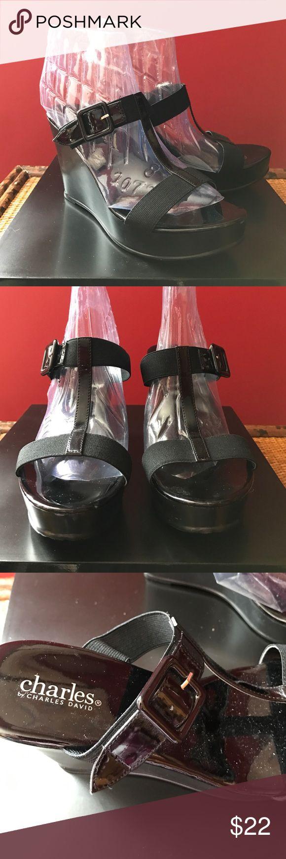 Charles by Charles David wedge Shoes Charles by Charles David Black 4 in. Wedge Heel slides Size 8 Gently Worn Charles David Shoes Wedges