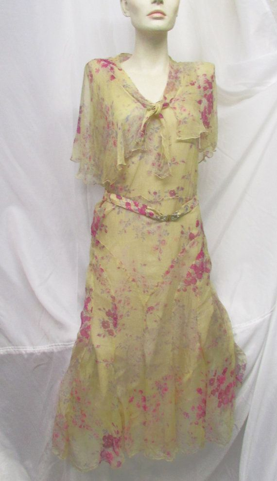 Vintage 1930's Dress Silk Chiffon Shawl by CAOLEiheartvintage