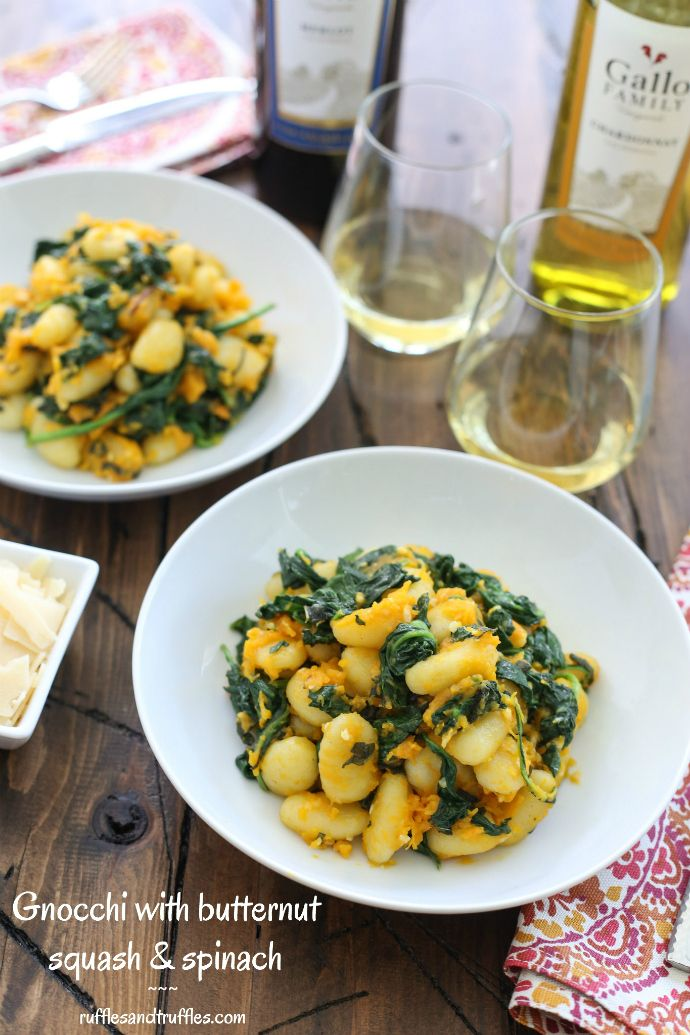 Gnocchi with butternut squash and spinach recipe for #SundaySupper with #GalloFamily